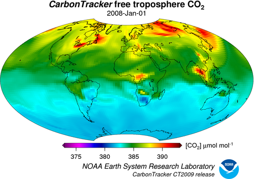 HIgher CO2 concentrations in the Northern Hemisphere